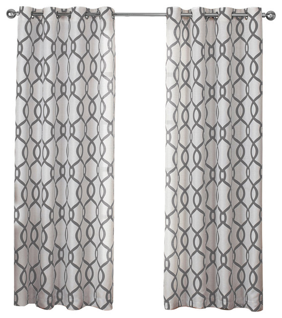Kochi Grommet Top Window Curtain Panels, Set Of 2/pair Panels, Black Pearl For Edward Moroccan Pattern Room Darkening Curtain Panel Pairs (View 23 of 50)
