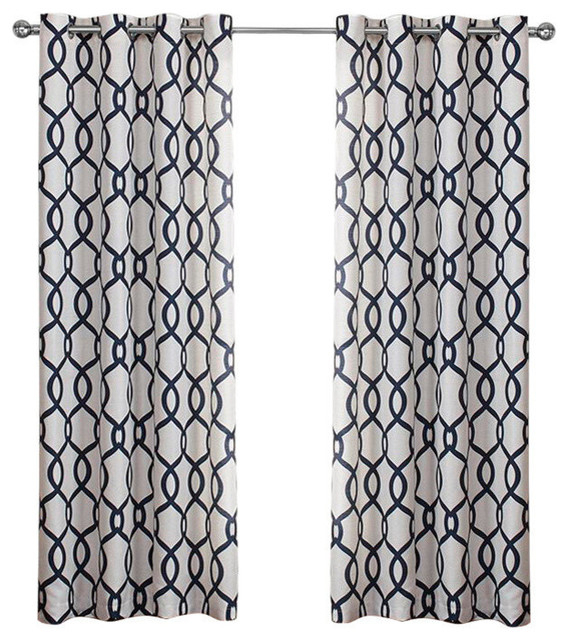 "Kochi Linen Blend Grommet Top Curtains, Indigo, 54""x108"", Set Of 2 Pertaining To Kochi Linen Blend Window Grommet Top Curtain Panel Pairs (#22 of 36)"