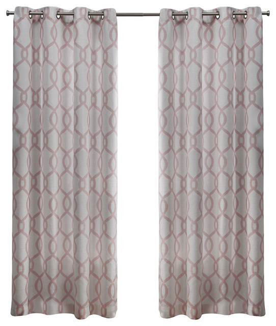 Kochi Linen Blend Grommet Top Window Curtain Panel Pair, 54X108, Blush With Wilshire Burnout Grommet Top Curtain Panel Pairs (#34 of 45)