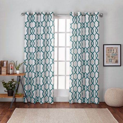 Kochi Linen Blend Grommet Top Window Curtain Panel Pair Teal Throughout Essentials Almaden Fretwork Printed Grommet Top Curtain Panel Pairs (#16 of 38)