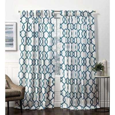 Kochi Teal Room Darkening Triple Pinch Pleat Top Curtain Panel – 27 In. W X  84 In (View 33 of 48)