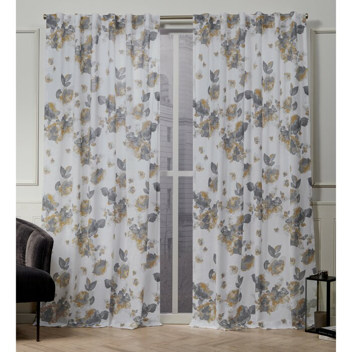 Kristy Floral Semi Sheer Tab Top Curtain Panels For Vina Sheer Bird Single Curtain Panels (View 9 of 38)
