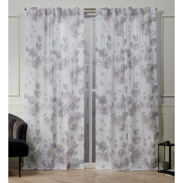 Kristy Floral Semi Sheer Tab Top Curtain Panels Regarding Vina Sheer Bird Single Curtain Panels (View 6 of 38)