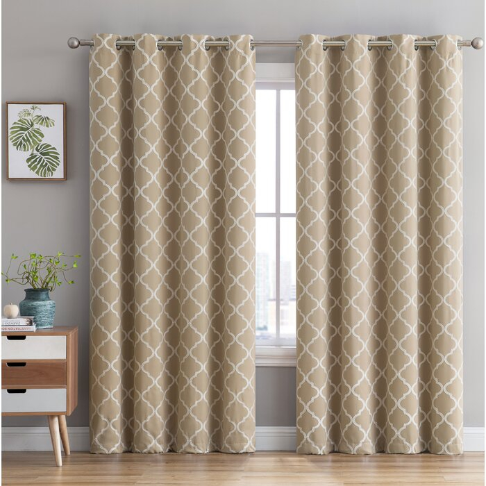 Kuhlmann Embroidered Geometric Blackout Thermal Grommet Curtain Panels Throughout Geometric Print Textured Thermal Insulated Grommet Curtain Panels (View 27 of 45)