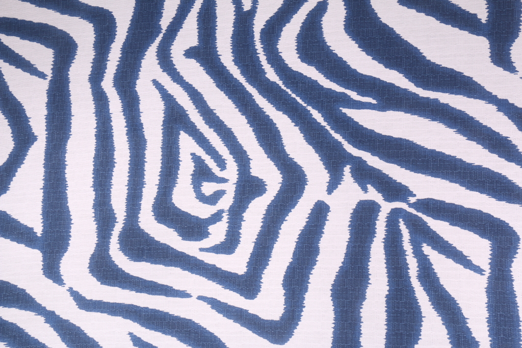 Lacefield Ikat Zebra Printed Cotton Drapery Fabric In Marina $ (#31 of 50)