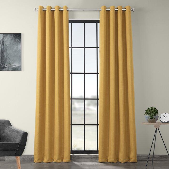 Lacrosse Faux Linen Grommet Blackout Indoor Single Curtain Panel For Faux Linen Blackout Curtains (#27 of 50)
