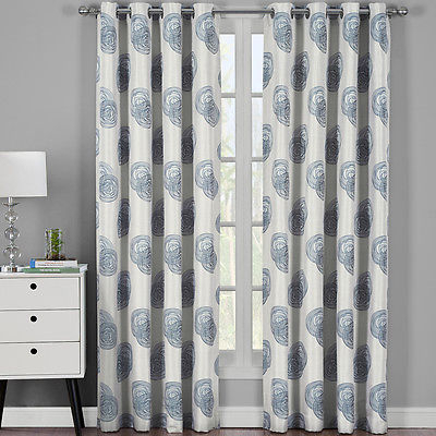 Lafayette Modern Abstract Jacquard Textured Grommet Top Curtain Panels  (Pair) | Ebay Regarding Abstract Blackout Curtain Panel Pairs (#26 of 46)