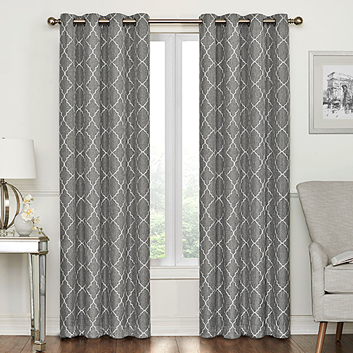 Lakewood Embroidered Blackout Grommet Curtain Panel Within Grommet Curtain Panels (#23 of 39)