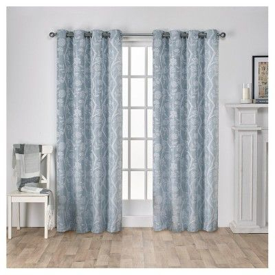 Lamont Branch And Vine Textured Linen Jacquard Grommet Top With Regard To Essentials Almaden Fretwork Printed Grommet Top Curtain Panel Pairs (#18 of 38)