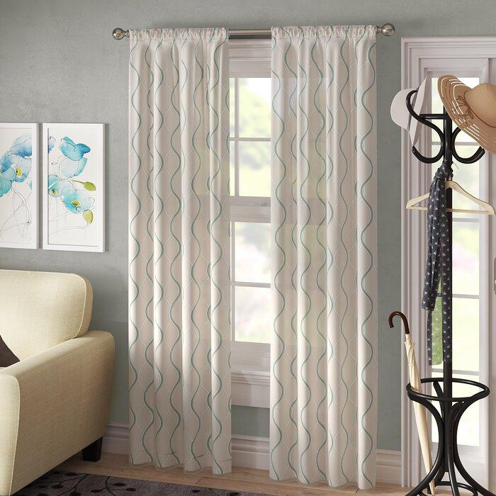 Landreneau Ogee Geometric Semi Sheer Rod Pocket Curtain Panel Regarding Rod Pocket Curtain Panels (View 16 of 34)