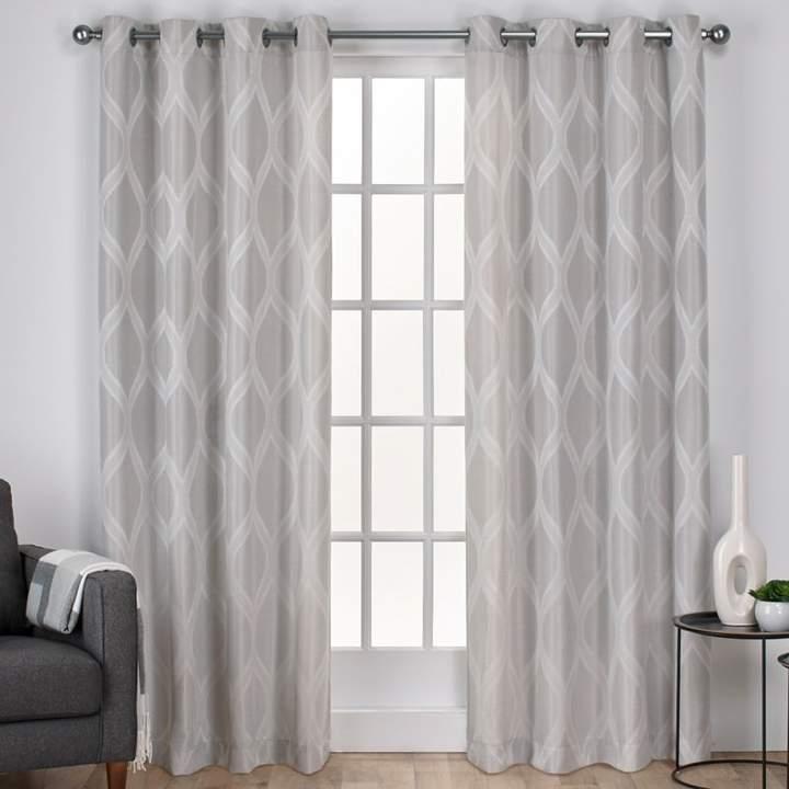 Langley Street Quinton Geometric Semi Sheer Grommet Curtain With Geometric Linen Room Darkening Window Curtains (View 30 of 50)