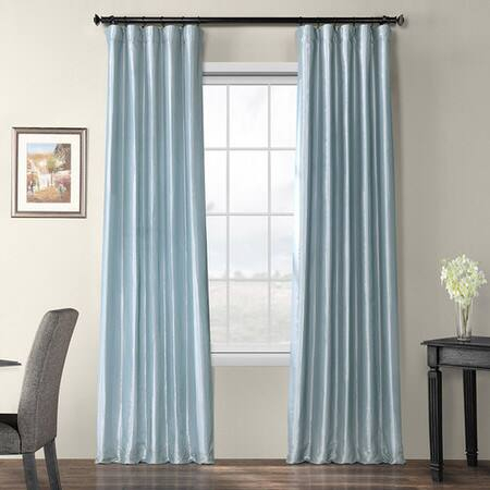 Largo Teal Faux Silk Taffeta Curtain – Tabriz Faux Silk Curtain In Montpellier Striped Linen Sheer Curtains (View 36 of 50)
