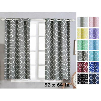 Lattice Design 52 X 64 Inch Window Drapes Curtains 2 Panels With Grommet Top | Ebay With Regard To Silvertone Grommet Thermal Insulated Blackout Curtain Panel Pairs (View 17 of 35)