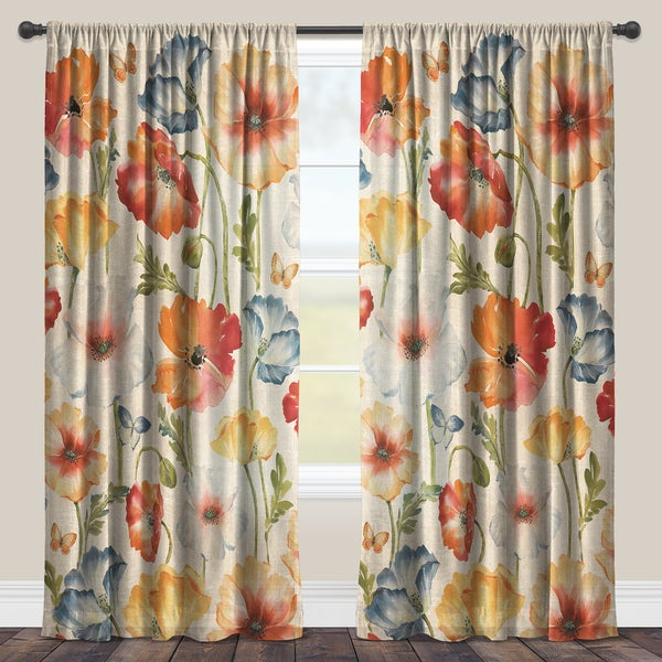 Inspiration about Laural Home Watercolor Greige Flowers Sheer Curtain Panel Intended For Gray Barn Dogwood Floral Curtain Panel Pairs (#24 of 48)