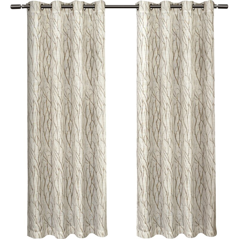 Inspiration about Leija Floral Sheer Grommet Curtain Panels Inside Twig Insulated Blackout Curtain Panel Pairs With Grommet Top (#41 of 50)
