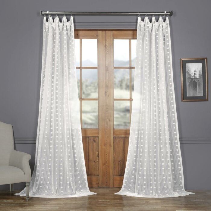 Levesque Patterned Linen Sheer Damask 100% Polyester Single Curtain Panel Throughout Single Curtain Panels (View 21 of 36)