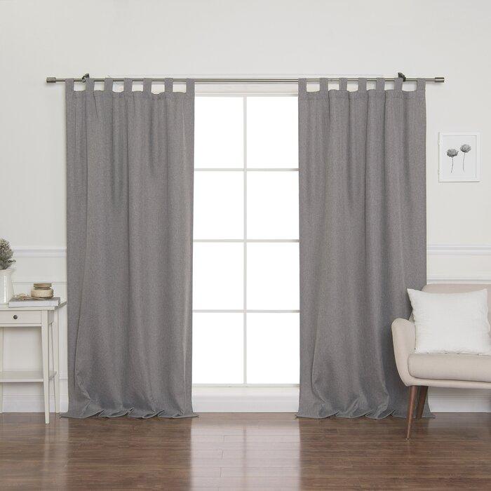Lewandowski Faux Linen Solid Blackout Tab Top Single Curtain Panel In Faux Linen Blackout Curtains (#28 of 50)