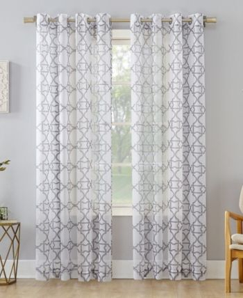 Inspiration about Lichtenberg No. 918 Powell Trellis Sheer Grommet Curtain Pertaining To Laya Fretwork Burnout Sheer Curtain Panels (#7 of 38)