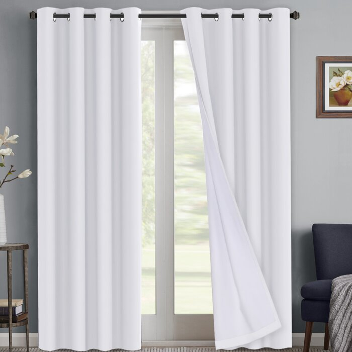 Light Grey 52 X 84 Inch Per Panel One Pair Ryb Home Gray And Throughout Silvertone Grommet Thermal Insulated Blackout Curtain Panel Pairs (#26 of 35)