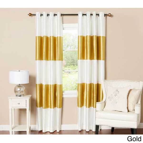 Lights Out Striped Dupioni Grommet Top Blackout Curtain Pertaining To Ocean Striped Window Curtain Panel Pairs With Grommet Top (#16 of 41)