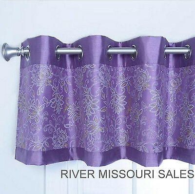 Lilac Metallic Print Faux Silk Grommet Decorative Window Pertaining To Copper Grove Fulgence Faux Silk Grommet Top Panel Curtains (View 29 of 50)