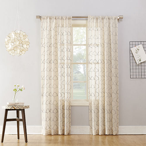 Inspiration about Lima Metallic Embroidered Sheer Rod Pocket Curtain Panel Within Rod Pocket Curtain Panels (#20 of 34)