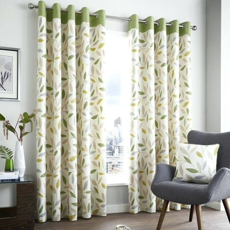 Inspiration about Lined Curtain Panels With Leaf Print Grommet Gray Curtains For Grey Printed Curtain Panels (#37 of 48)