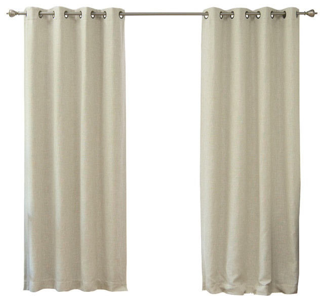 Inspiration about Linen Blend Blackout Curtains For Tulle Sheer With Attached Valance And Blackout 4 Piece Curtain Panel Pairs (#15 of 50)