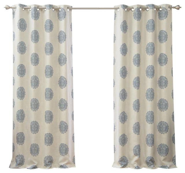 Linen Blend Blackout Medallion Curtain Within Kaiden Geometric Room Darkening Window Curtains (View 24 of 39)