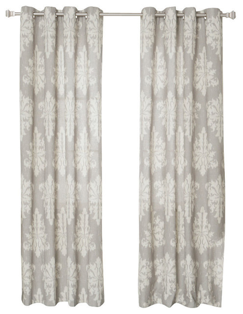 "Inspiration about Linen Blend Medina Printed Curtains, Pair, Gray, 84"" Intended For Grey Printed Curtain Panels (#41 of 48)"