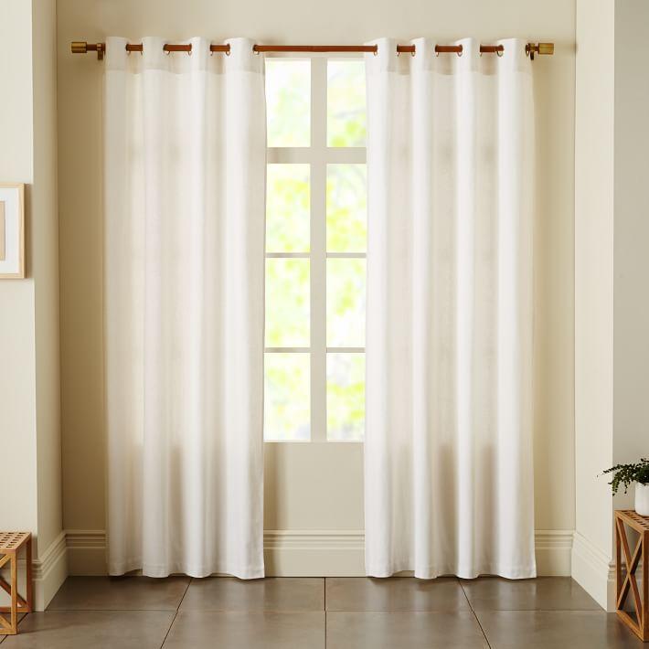 Linen Cotton Grommet Curtain – White | West Elm Inside Solid Cotton Curtain Panels (#29 of 47)