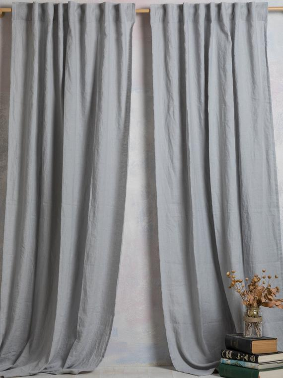 Linen Curtain Panel Linen Drape Washed Linen Drape In Ligth Grey Color Linen Curtain Hidden Back Tabs Width 55''(140Cm)Xcust (View 36 of 50)