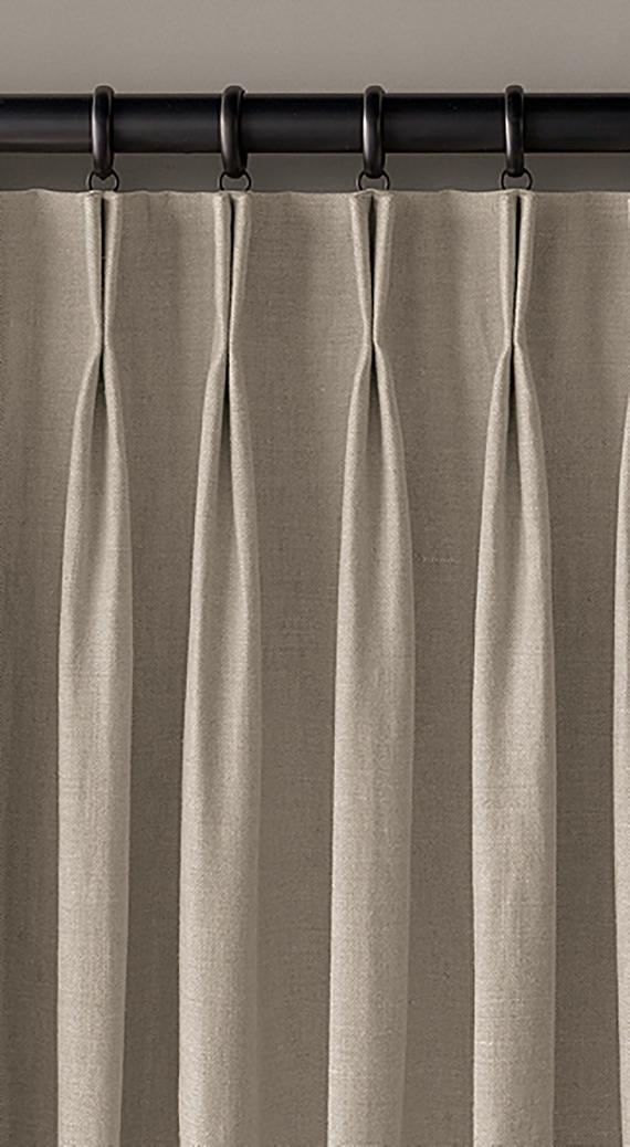 Linen Drapes ~ Fully Lined ~ Double Pinch Pleat Custom Drapery Panels In  Your Choice Of Linen Throughout Double Pinch Pleat Top Curtain Panel Pairs (#22 of 50)