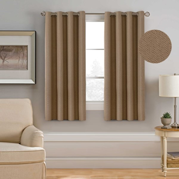 Linen Look Curtain Thick Eyelet Vintage Curtain Each Panel 132X160Cm Tan  Color With Regard To Heavy Faux Linen Single Curtain Panels (View 25 of 32)