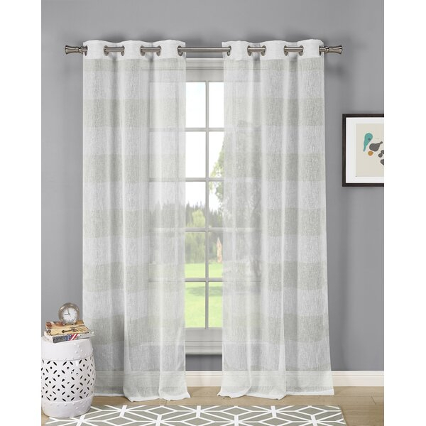 Linen Look Sheer Curtains | Wayfair Inside Ocean Striped Window Curtain Panel Pairs With Grommet Top (#17 of 41)