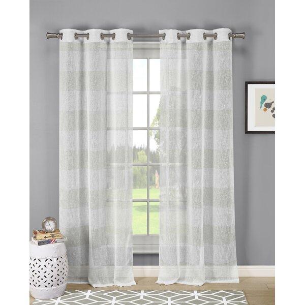 Linen Look Sheer Curtains | Wayfair Regarding Oakdale Textured Linen Sheer Grommet Top Curtain Panel Pairs (View 9 of 41)