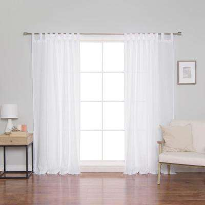 Inspiration about Linen Mid Weight Tab Top Curtain Panel In White – 52 In. X 84 In. Within Twisted Tab Lined Single Curtain Panels (#32 of 50)