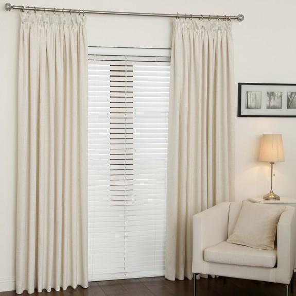 Linum Ivory Pencil Pleat Curtains Intended For Solid Cotton Pleated Curtains (#21 of 50)