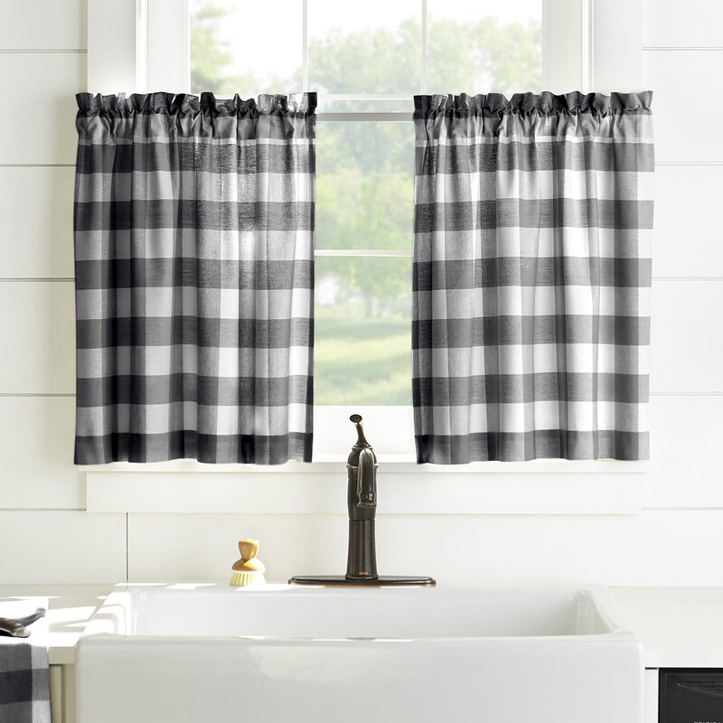 Living Buffalo Check Cafe Curtain For Kaiden Geometric Room Darkening Window Curtains (View 25 of 39)