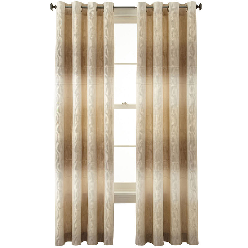 Liz Claiborne Dakota Two Tone Lined Grommet Top Curtain Throughout Lined Grommet Curtain Panels (#20 of 31)