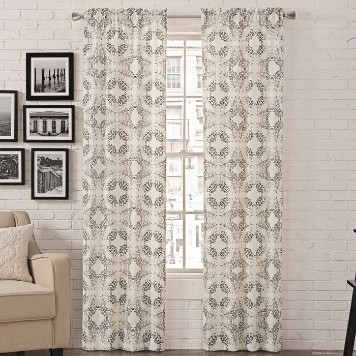 Liza Abstract Semi Sheer Rod Pocket Curtain Panels | New Inside Sunsmart Dahlia Paisley Printed Total Blackout Single Window Curtain Panels (#11 of 45)