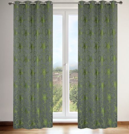 Lj Home Fashions Tulips Floral Faux Silk Grommet Curtain With Ofloral Embroidered Faux Silk Window Curtain Panels (View 23 of 50)
