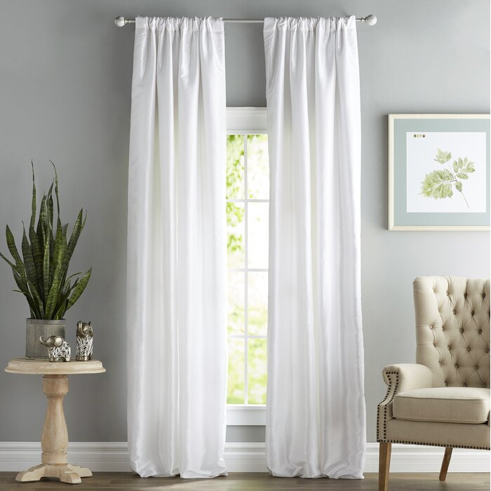 Lochleven Faux Silk Taffeta Solid Room Polyester Darkening Single Curtain Panel Inside Solid Faux Silk Taffeta Graphite Single Curtain Panels (View 11 of 50)