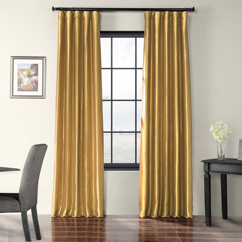 Lochleven Faux Silk Taffeta Solid Room Polyester Darkening Single Curtain  Panel Regarding Faux Silk Taffeta Solid Blackout Single Curtain Panels (View 36 of 50)