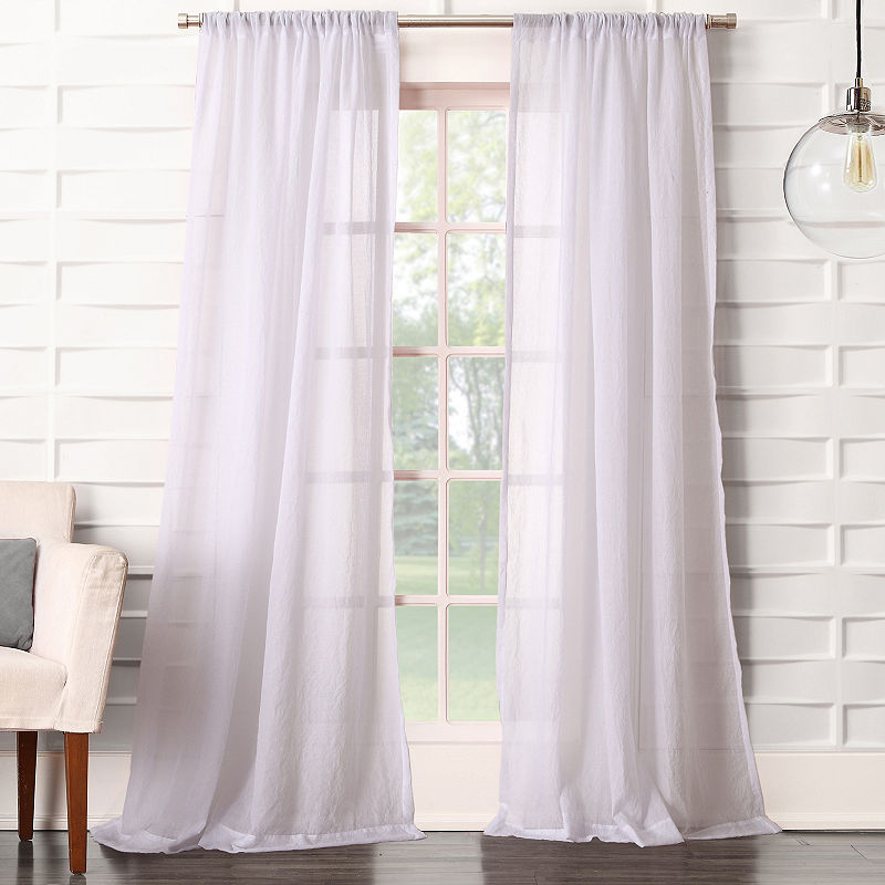 Inspiration about Lola Solid Rod Pocket Sheer Curtain Panel | Products | Sheer Throughout Archaeo Jigsaw Embroidery Linen Blend Curtain Panels (#4 of 25)
