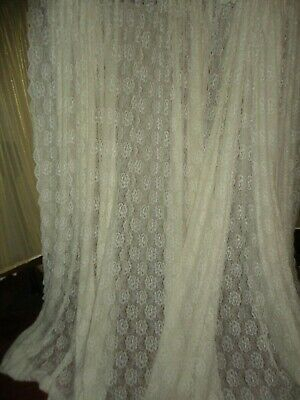 Inspiration about Long Ivory Colored Floral Lace Pattern Drapes 4 Panels – Chf In Gray Barn Dogwood Floral Curtain Panel Pairs (#10 of 48)