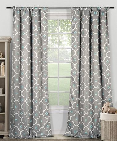 Look What I Found On #zulily! Gray & Blue Ginger Blackout Intended For Essentials Almaden Fretwork Printed Grommet Top Curtain Panel Pairs (#19 of 38)