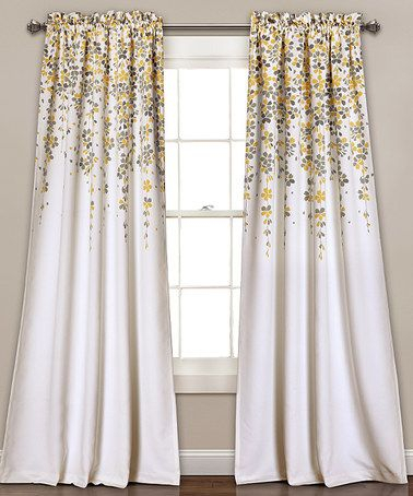 Inspiration about Look What I Found On #zulily! Yellow & Gray Room Darkening Regarding Gray Barn Dogwood Floral Curtain Panel Pairs (#9 of 48)
