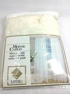 Lorraine Home Fashions Monte Carlo Super Wide Tailored For Luxury Collection Monte Carlo Sheer Curtain Panel Pairs (#14 of 29)