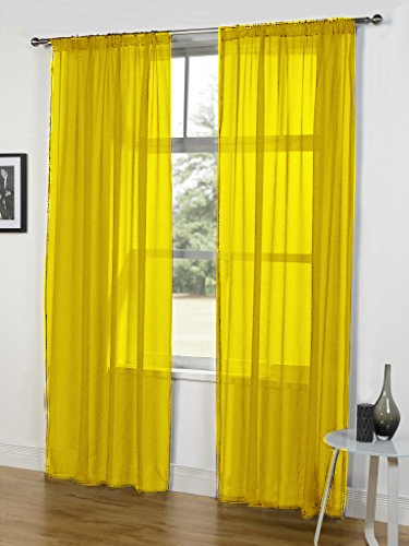 'lucy Pair' Yellow Slot Top Voile Panels With Regard To Pairs To Go Victoria Voile Curtain Panel Pairs (#1 of 30)